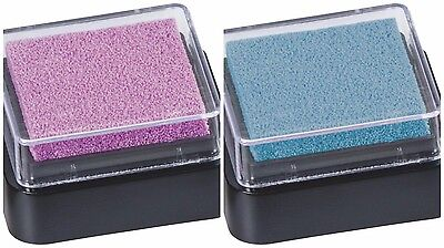 HEYDA 2 Stück Mini Stempelkissen 3x3cm hellblau+rosa NEU Pigment Stempelfarbe