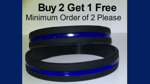 Thin Blue Line Bracelet Wristband Blue lives Matter Silicone (1) Police Support