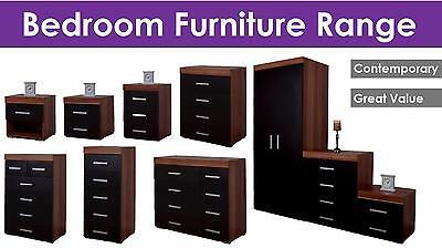 Bedroom Furniture Set Wardrobe Chest Bedside Black & Walnut