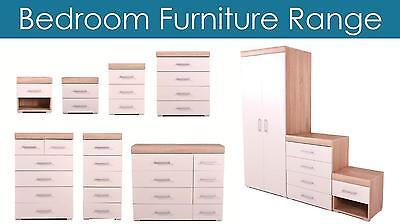 Bedroom Furniture Wardrobe Chest of Drawers Bedside White & Oak