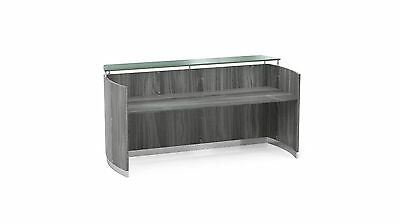 Gray Steel Laminate Reception Desk Textured Glass Counter With No Drawers