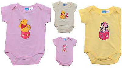 Disney Minnie Pooh Pink Bodysuit Short Sleeve Newborn Baby Girl 0/3 3/6 6/9 - Baby Disney