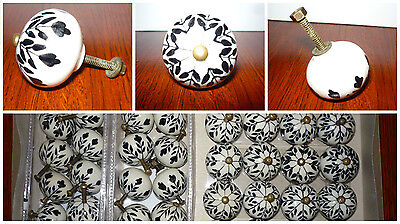 Lot of 40 Floral Pull Knob Kitchen Cabinet Door Drawer Ceramic Black Flower