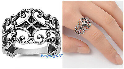 Scrolled Filigree Ring - Sterling Silver 925 PRETTY FILIGREE SCROLL VINES DESIGN RING 14MM SIZES 4-12