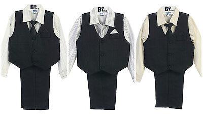 Boys Dress (Boy Suit Vest Outfit Set Dress Shirt Vest Pants Tie Infant Toddler Boys 9M - 4)