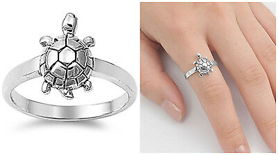 Sterling Silver 925 PRETTY SEA TURTLE DESIGN SILVER BAND RING 14MM SIZES 3-12