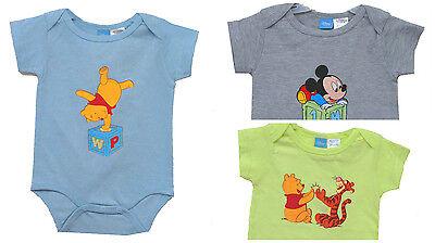 Disney Mickey Mouse Boys Grey Bodysuit Newborn Baby Boy Clothes Size 0 3 6 9 - Disney Infant Clothes