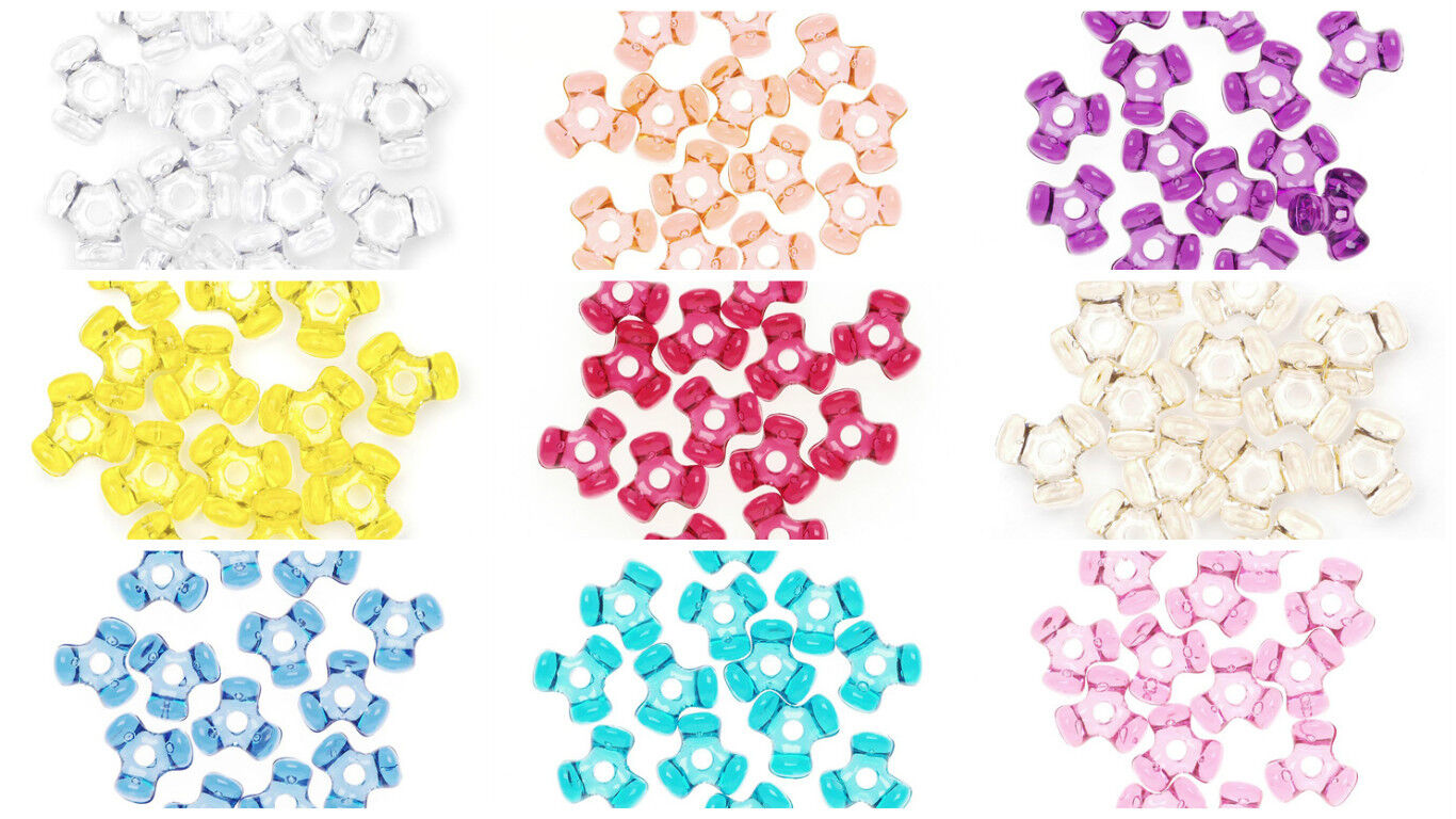 11 mm Acrylic Tri-Beads 1,000 Pieces Made in USA 25 Colors A