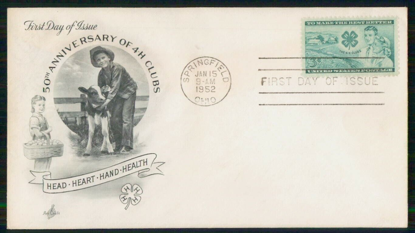 US FDC 1952 50th Anniversary 4 H Clubs Organization Ohio First Day - $1.00