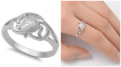 Sterling Silver 925 PRETTY SEA TURTLE DESIGN SILVER BAND RING 10MM SIZES 5-10