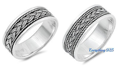 Sterling Silver 925 Braided Wedding Band Ring 8mm Sizes 7-13