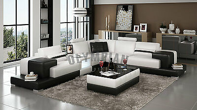 Modern Large LEATHER SOFA Corner Suite NEW White Black