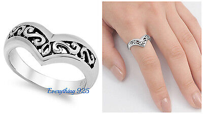 Sterling Silver 925 POINTED V-SHAPE WITH FILIGREE DESIGN RING 10MM SIZES 5-10 (Shape Filigree Design)