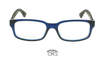 Original Gucci Brillenfassung Brille GG0012O  Farbe 004 blau schwarz
