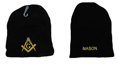 8  Mason Masonic Lodge Letters Black Embroidered Beanie Skull Cap Hat  Ram