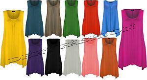 Nuevo-Mujer-Sin-Mangas-Cuello-Redondo-Dobladillo-PANUELO-Amplio-Fit-camiseta-top