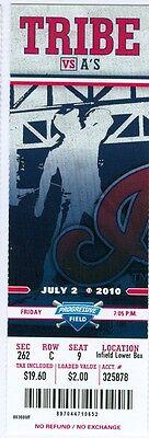2010 Indians Vs Oakland As Ticket  Gio Gonzalez Win Mark Ellis 2 Rbi