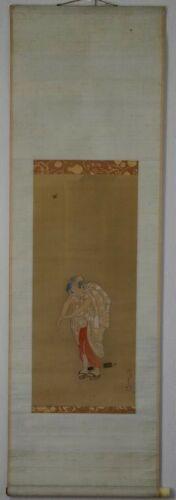 Japanese Hanging Scroll Woman by Katushika Hokusai 葛飾北斎 Painting on a Silk Sined