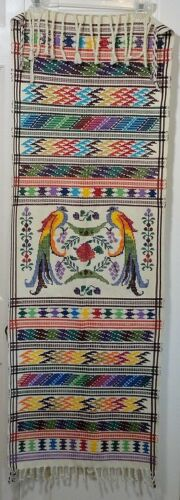 Vivid Colorful Embroidered Birds Runner Wall Hanging Mexico So.America Vintage?