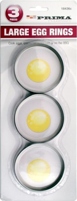 3PC NON STICK LARGE EGG RINGS POACHING POACHED OR FRIED EGG RINGS FRYING NEW PAN