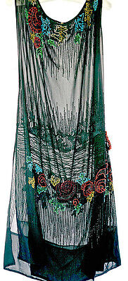 Dramatic vintage 1920s beaded silk dress, flapper,  Deco roses