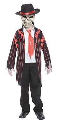 Dead Gangster Halloween Costumes (Mad Mobster Dead Gangster Halloween Horror Fancy Dress Costume Age 7 - 12)