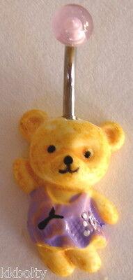 CUTE TEDDY BEAR RESIN NAVEL BELLY RING - Choose one