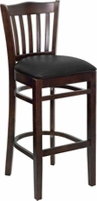 New Walnut Wood Restaurant Barstools Black Vinylseat Lot Of 10 Bar Stools