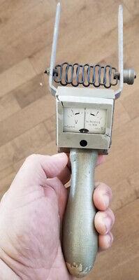 Rare Vintage Voltmeter Ampmeter Antique Tool Wood Handle Electric Watt Volt Acdc