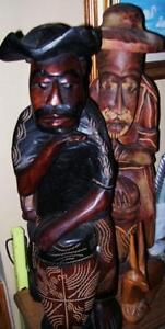 2 Large Crafted Wooden Statues