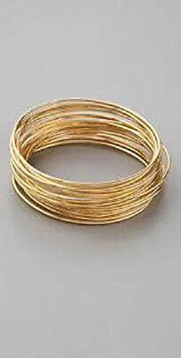 Gold Stackable Bangle - Lee Angel Women's Valerie Gold thin Stackable bangle Set of 12 Bracelet NIP 110