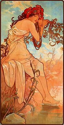 5 Drucke Alphonse Mucha Jugendstil Four Seasons Drucke Herbst Winter Feder Neu