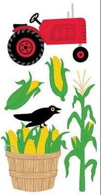 Scrapbooking Crafts Stickers Sandylion Dimensional Farm Tractor Corn Crow Stalk