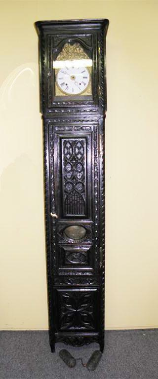 Tall 19th Century Grandfather Clock French Gothic Oak, Dings On Hour & Half Hour