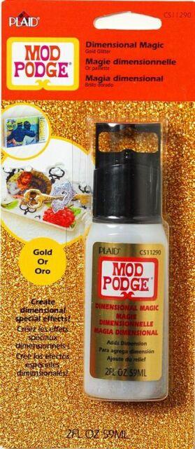 Plaid MOD PODGE Dimensional Magic GOLD GLITTER 2oz Stay put formula CS11290