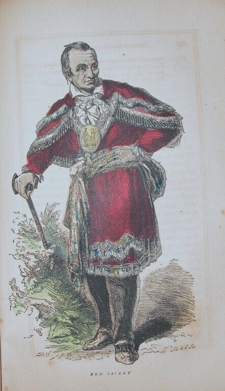 1857 ENGRAVING NATIVE AMERICAN IROQUOIS INDIAN RED JACKET HISTORY