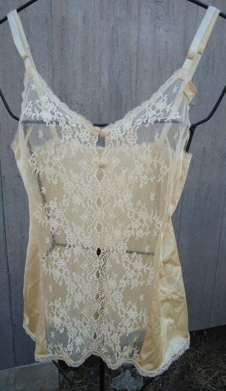 NOS Vtg Vanity Fair Flesh Beige All Nylon Camisole 70s Lace Metal Slides 32 USA