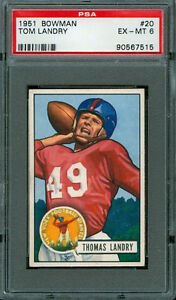1951 Bowman #20 - Tom Landry (RC) - PSA 6 -- Giants HoF Rookie (mikedenero)