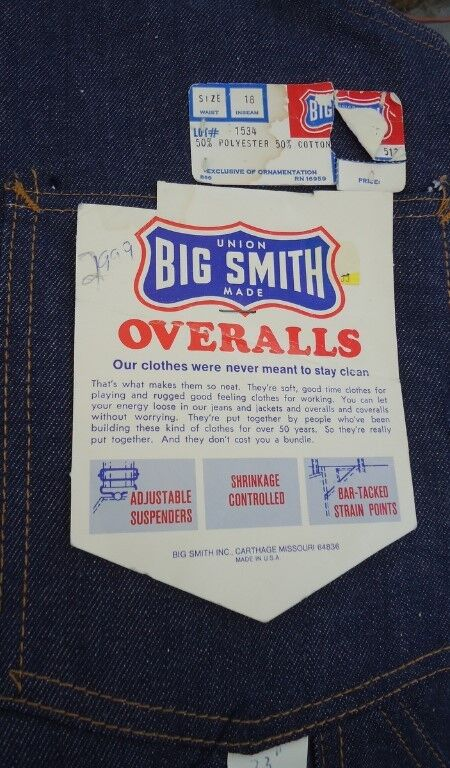 NOS Sanforized Vtg Big Smith Union Made Kids Overalls 18 Bar Tacked Deadstock US