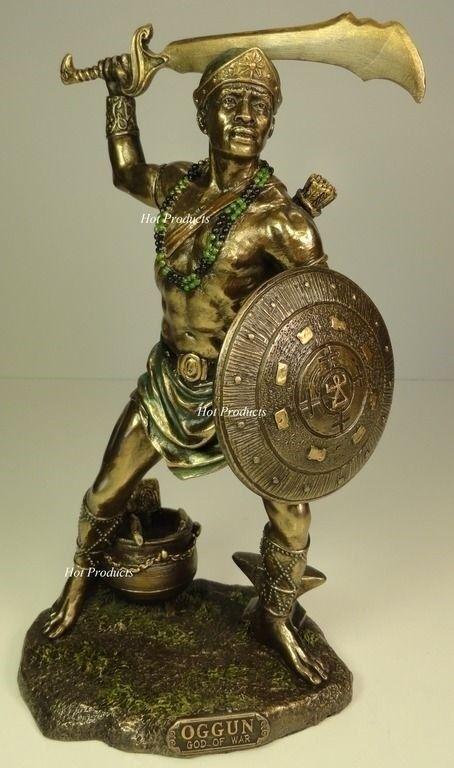 ORISHA OGGUN God of War Ogun Yoruba African Statue Sculpture Bronze Finish