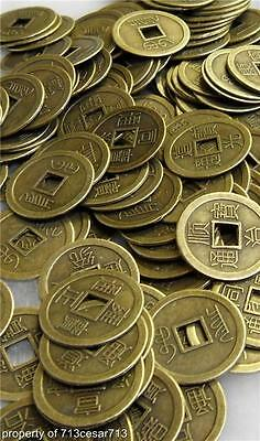 100 x LOT Feng Shui Chinese Oriental Money I Ching Coin Lucky Charm Brass Metal