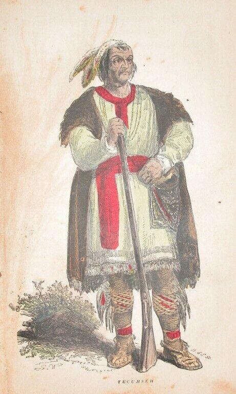 1857 ENGRAVING NATIVE AMERICAN SHAWANEE INDIAN PROPHET TECUMSE HISTORY
