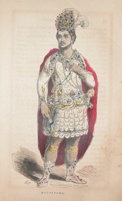 1857 SOUTH AMERICA AZTEX INDIAN ENGRAVING KING MONTEZUMA MEXICO HISTORY