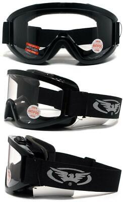 Windshield Clear Anti Fog Fit Over Glasses Motorcycle Safety Goggles Wpouch Z87