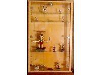 Beech display cabinet, glass shelves & glass doors