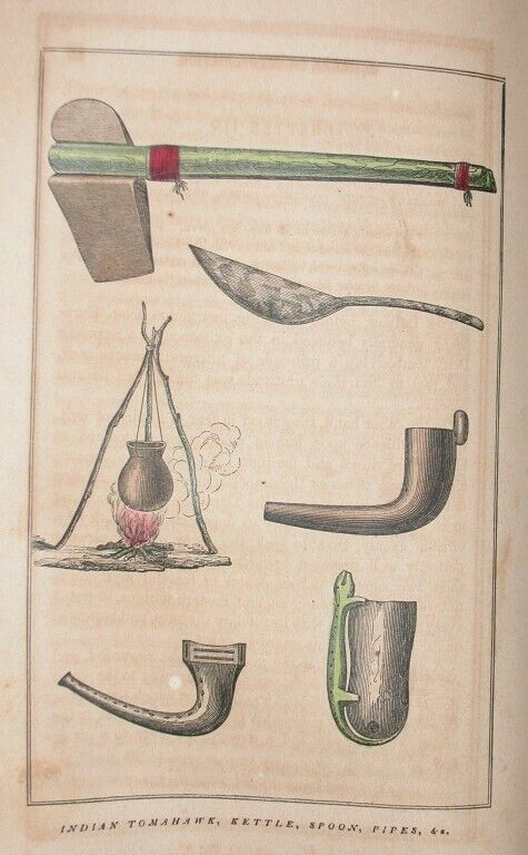 1857 NORTH AMERICA INDIAN ENGRAVING TOMAKAWK KETTLE PIPES SPOON ARTIFACT HISTORY