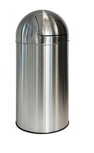 40 Liter Pushmülleimer Abfalleimer Papierkorb Mülleimer Treteimer aus Edelstahl