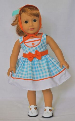 "Doll Clothes 18"" Doll Dress Blue Orange Gingham Fits AG Doll Mary Ellen 1954"