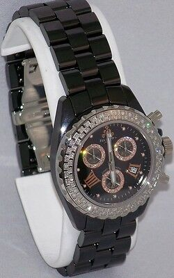 New Techno Jpm Ladies Black Ceramic Csx Chronograph Diamond Quartz Watch