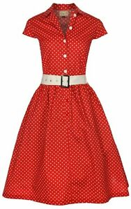 NEW-CLASSIC-RED-POLKA-DOT-VINTAGE-WW2-1940s-1950s-BELTED-TEA-SHIRT-COTTON-DRESS
